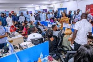 Buhari Fashola 1 300x200 - Buhari Spies At Election Results, Visits Situation Room (Photos)