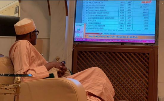 Watch Buhari's Reaction As INEC Declares Him Winner Of 2019 Elections