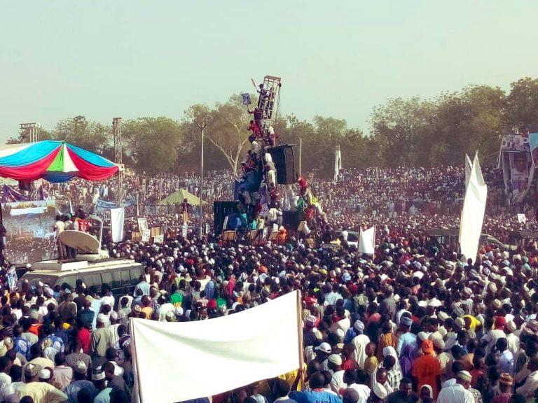 Buhari in Adamawa1 768x576 - Photos: Mammoth Crowd As Buhari Takes Campaign To Atiku's State, Adamawa