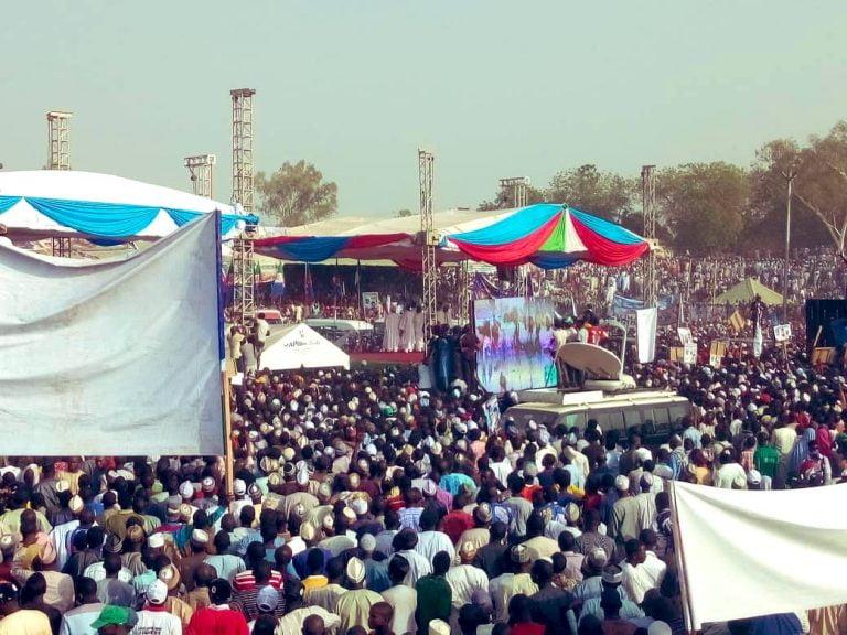Buhari in Adamawa2 768x576 - Photos: Mammoth Crowd As Buhari Takes Campaign To Atiku's State, Adamawa