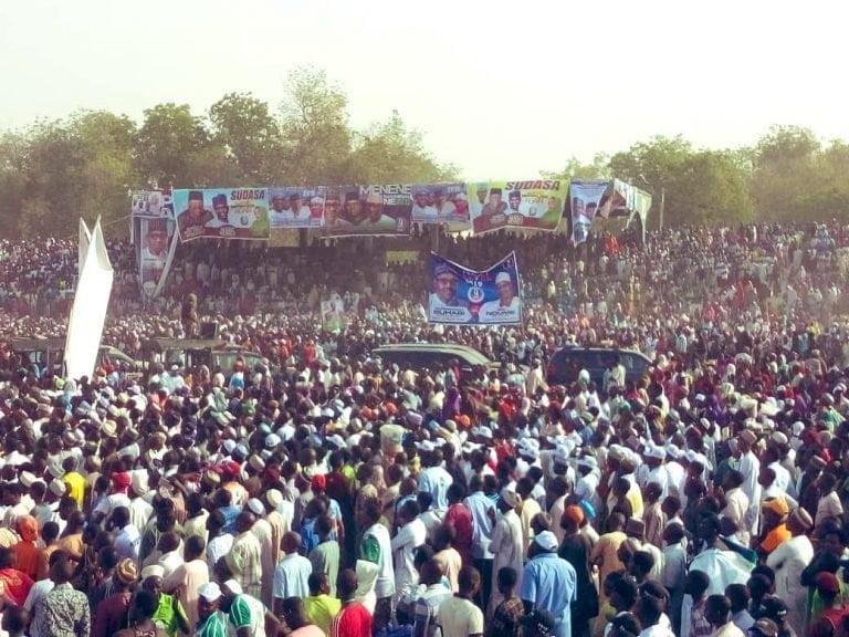 Buhari in Adamawa3 768x576 - Photos: Mammoth Crowd As Buhari Takes Campaign To Atiku's State, Adamawa