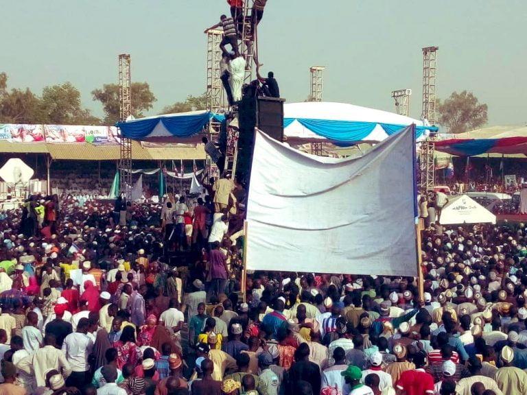 Buhari in Adamawa4 768x576 - Photos: Mammoth Crowd As Buhari Takes Campaign To Atiku's State, Adamawa
