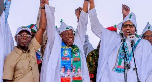 Oshiomhole Ganduje and Buhari 300x162 - Kano: Ganduje Named Best Performing Governor