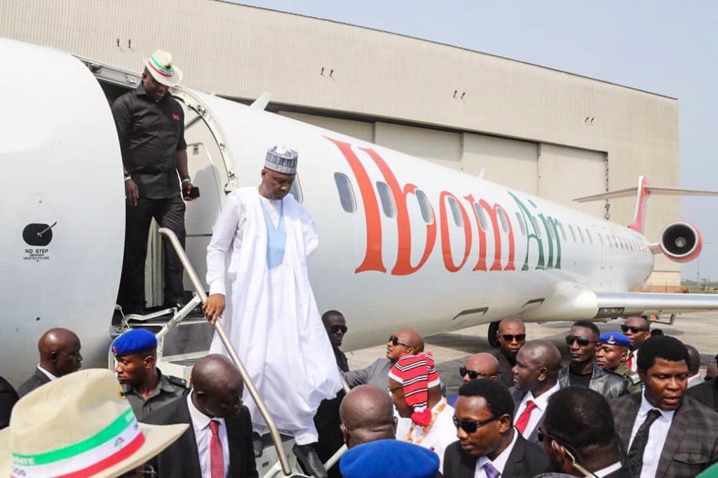 See How Saraki Reacted To Launch Of IbomAir By Akwa Ibom Govt.
