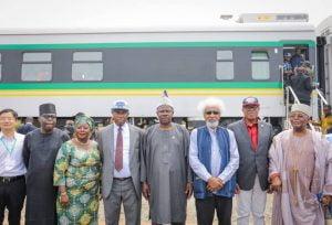 Train 3 300x204 - Amaechi, Amosun, Alake Take Train Ride (Photos)