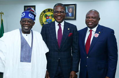 Lagos State Governor, Mr. Akinwunmi Ambode (right), with the new Head of Service, Mr. Hakeem Muri-Okunola (middle) and Asiwaju Bola Tinubu (left)