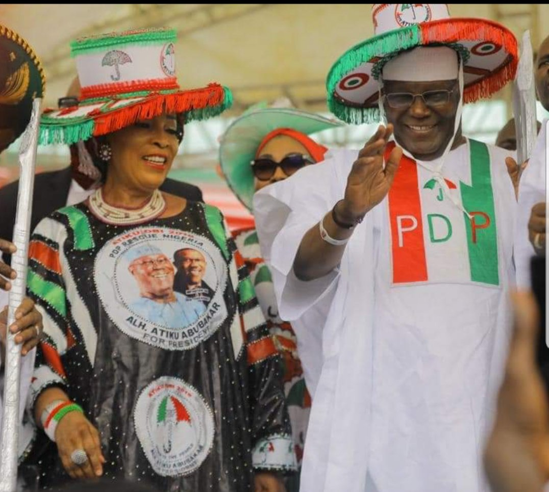 atiku and titi abubakar - See How Atiku And PDP Leaders Dressed To Lagos For Presidential Rally As Crowd Of Excited Supporters Welcome Them