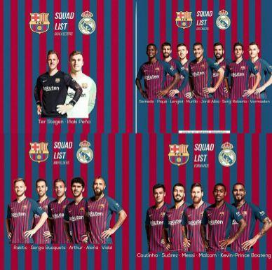 barca - Copa del Rey: See Real Madrid, Barcelona Squad (Photos)