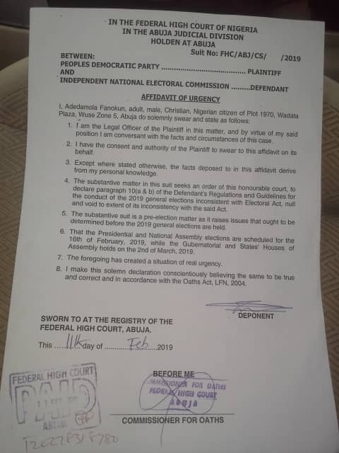 bb91b5bd f51c 4161 9e08 0dd448567cc4 - 2019 Election: PDP Sues INEC, Faults Its Decision On Card Reader
