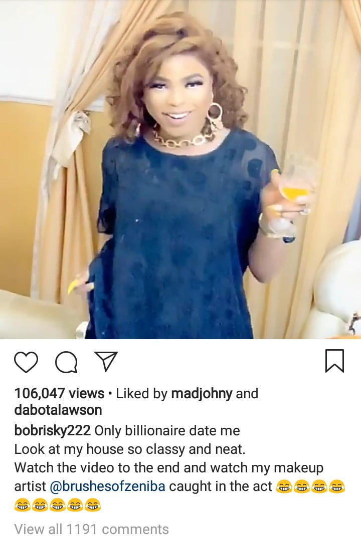 bobrisky screen shot - Bobrisky Reveals Category Of People That Can Date Him