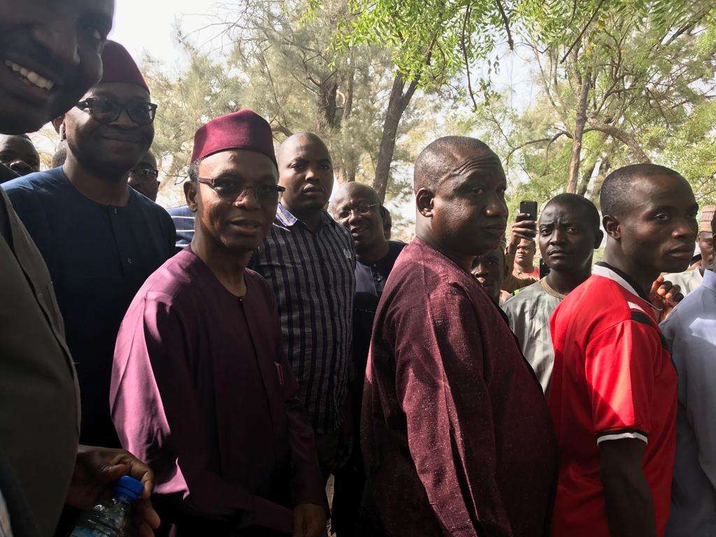 el rufai votes - Governor Nasir El-Rufai Arrives Polling Unit, Insists On Joining Queue