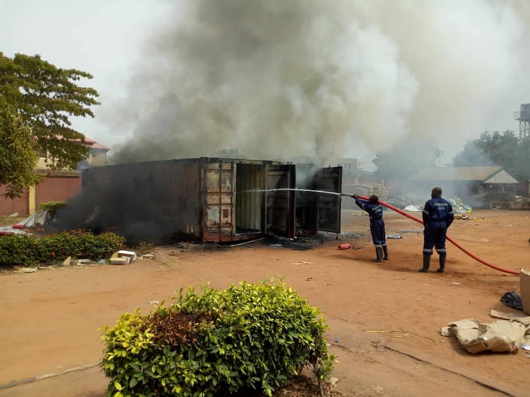 inec fire - Fire Burns Two Containers Filled With INEC Materials In Anambra State (Photos)