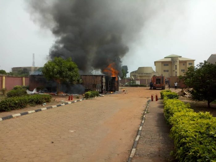 inec2 - Fire Burns Two Containers Filled With INEC Materials In Anambra State (Photos)