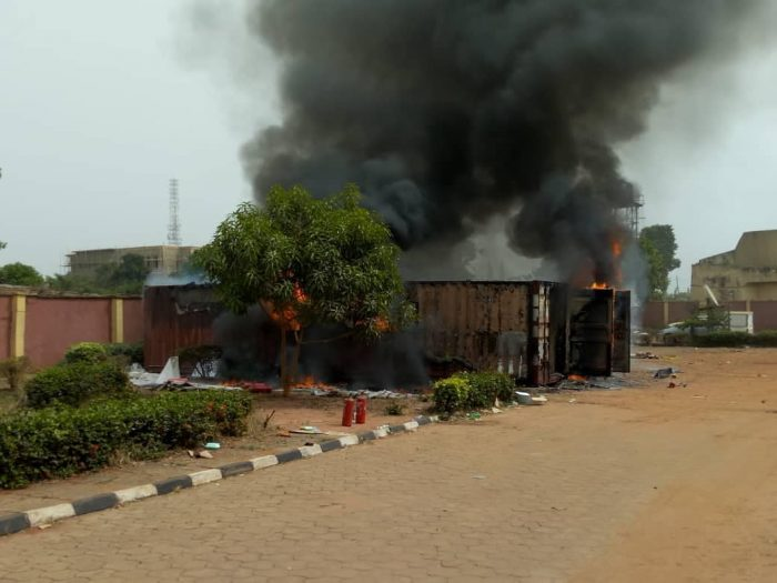 inec3 700x525 - Fire Burns Two Containers Filled With INEC Materials In Anambra State (Photos)