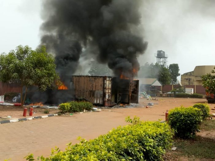 inec4 700x525 - Fire Burns Two Containers Filled With INEC Materials In Anambra State (Photos)