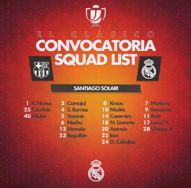 madrid - Copa del Rey: See Real Madrid, Barcelona Squad (Photos)
