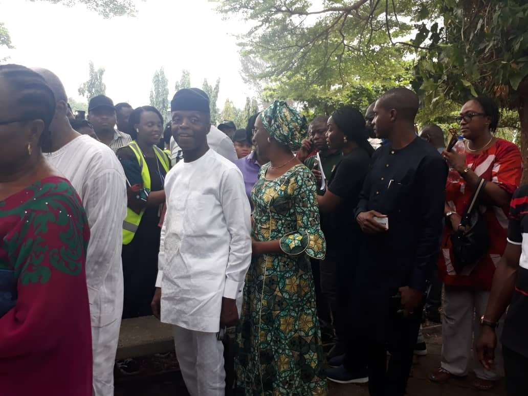 Vice President Osinbajo and wife waiting to cast their vote