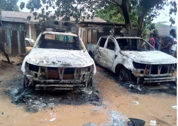police new - Hoodlums Burn Police Station, Free Prisoners In Anambra State