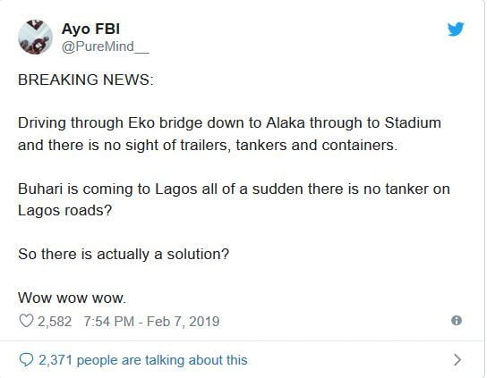 tk - Nigerians React As Trucks And Containers Disappear Overnight From Lagos Bridges Ahead Of Buhari's Visit