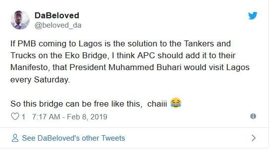 tk8 - Nigerians React As Trucks And Containers Disappear Overnight From Lagos Bridges Ahead Of Buhari's Visit