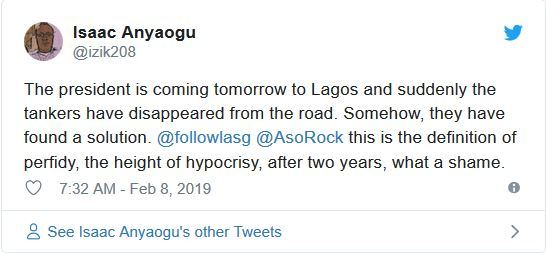 trk - Nigerians React As Trucks And Containers Disappear Overnight From Lagos Bridges Ahead Of Buhari's Visit
