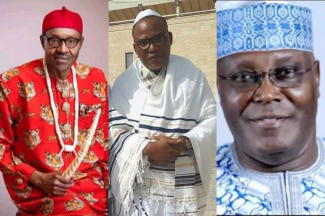 Buhari Nnamdi Kanu and Atiku - Biafra: IPOB Leader, Nnamdi Kanu Reveals Only Way Atiku Can Defeat Buhari At The Tribunal