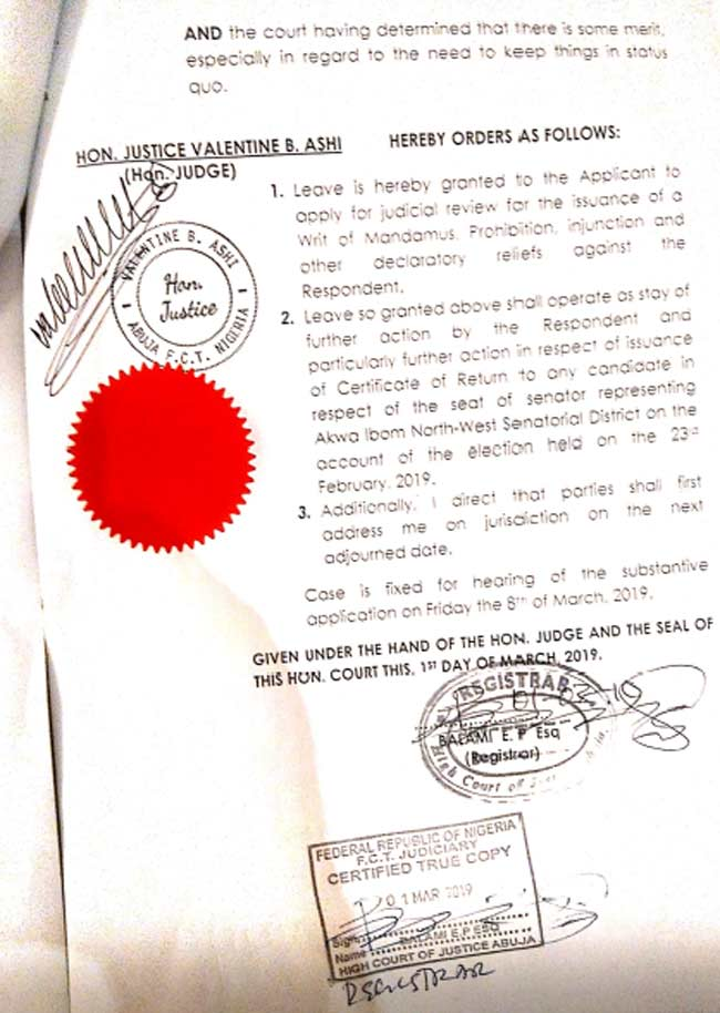 Court Paper - Court Stops INEC From Giving Certificate Of Return To Akpabio's Opponent