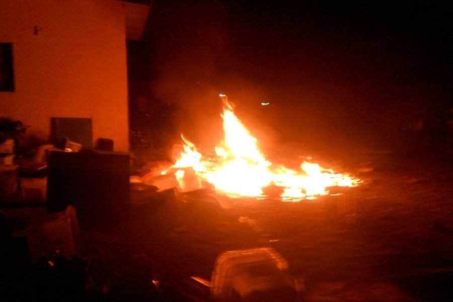 INEC 1 900x600 - See The Moment Election Materials Were Set Ablaze In Ebonyi State (Video)