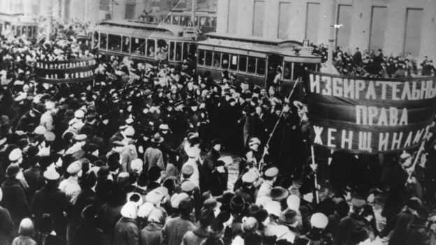 In Russia in 1917 thousands of women took to the streets against hunger and war their strike was the kick off for the Russian revolution and also gave rise to International Womens Day - International Women's Day: The Labor Origins of March 8