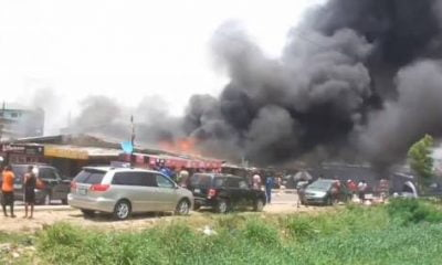 Breaking: Fire Breaks Out In Surulere, Lagos (Video)
