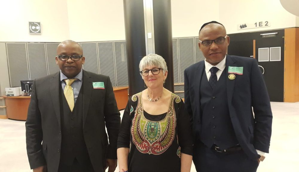 Uche Mefor Julie and Nnamdi Kanu 1000x576 - IPOB's Nnamdi Kanu Takes 'Biafra Struggle' To European Parliament