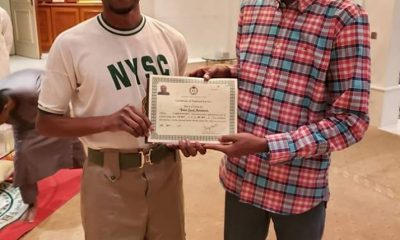 Nigerians React As Yusuf Buhari Receives NYSC Certificate In Aso Rock
