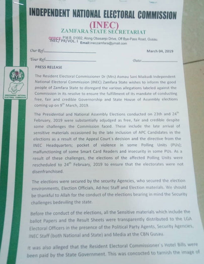 Zamfara REC - INEC Denies Alleged Plot To Rig Governorship And State House Of Assembly Elections For APC In Zamfara State