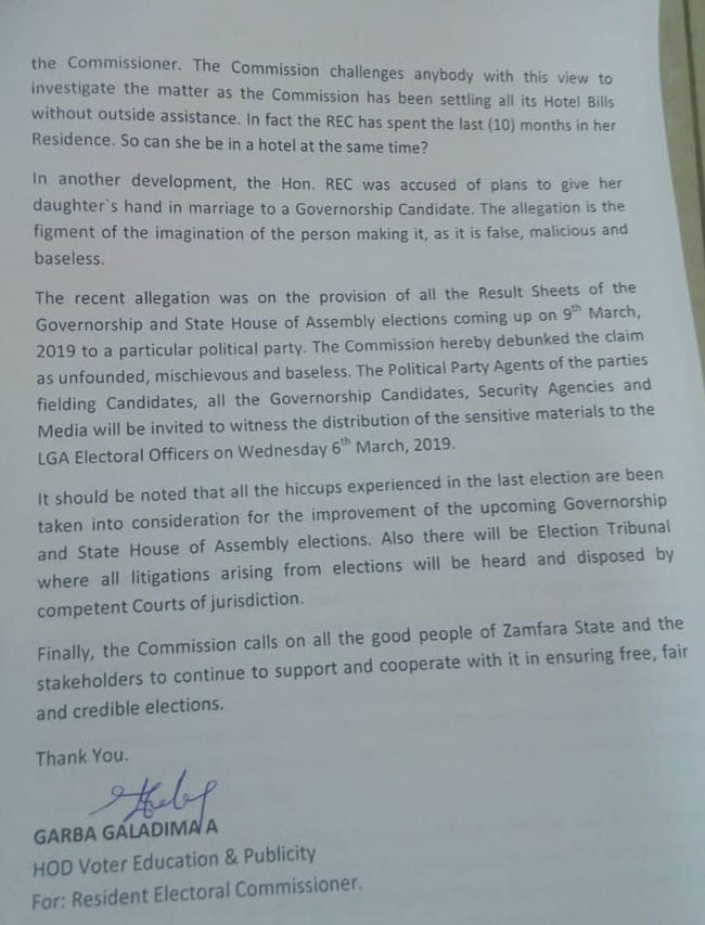 Zamfara REC1 - INEC Denies Alleged Plot To Rig Governorship And State House Of Assembly Elections For APC In Zamfara State
