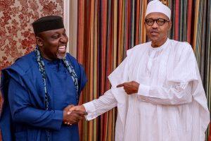 Buhari and Okorocha in Aso Rock 300x200 - President Buhari Felicitate With Okorocha On His 58th Birthday