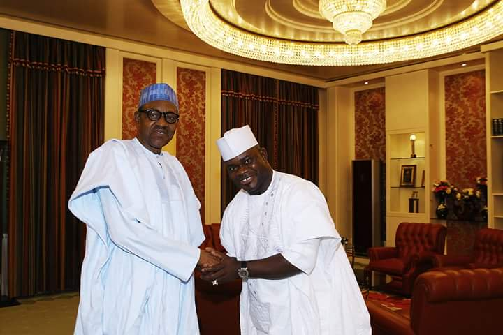 Buhari and Yahaya Bello - APC Elders Petition Buhari, Insist Yahaya Bello 'Unfit' For Second Term
