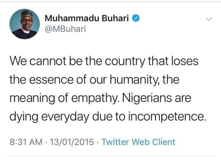 Buhari tweet on killings in nigeria - Flashback: What Buhari Said Was Cause Of Killings In Nigeria Under Jonathan