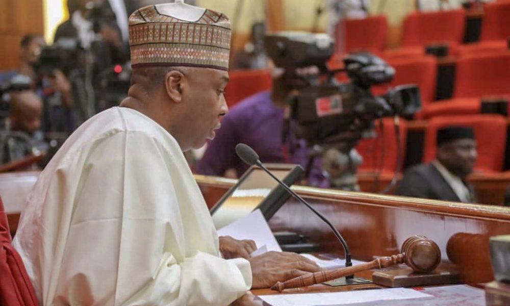 Bukola Saraki at the senate 1000x600 - Saraki Reacts As Buhari Signs New Minimum Wage Bill Into Law
