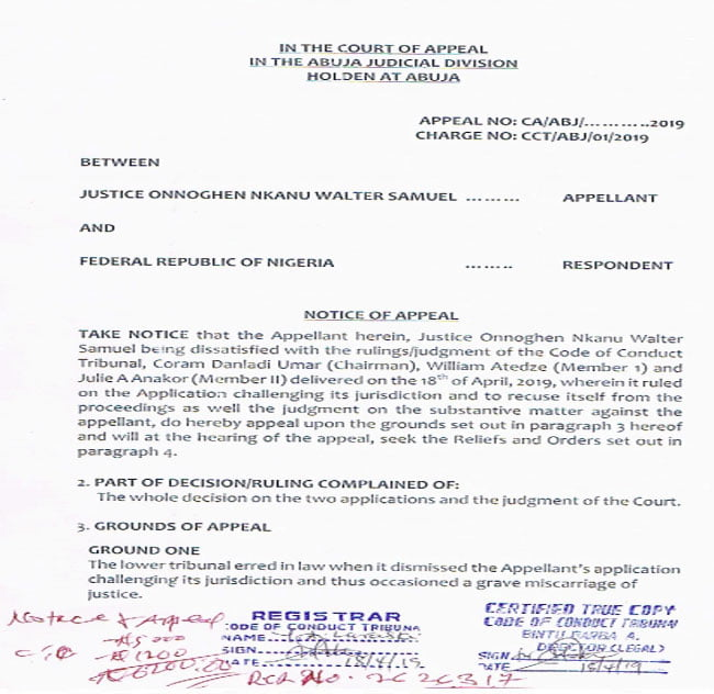 CJN Appeal - Just In : Onnoghen Finally Reacts To CCT's Judgement, Files Notice Of Appeal