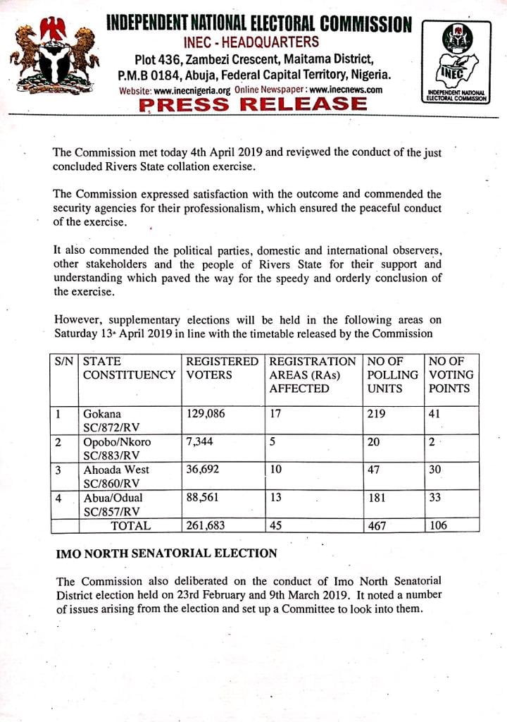 D3VJ4DDWsAAJtz4 - Rivers State: INEC To Hold Supplementary Elections In Four LGAs