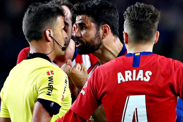 Diego Costa and referee - Diego Costa Banned For 8 Games, See Why