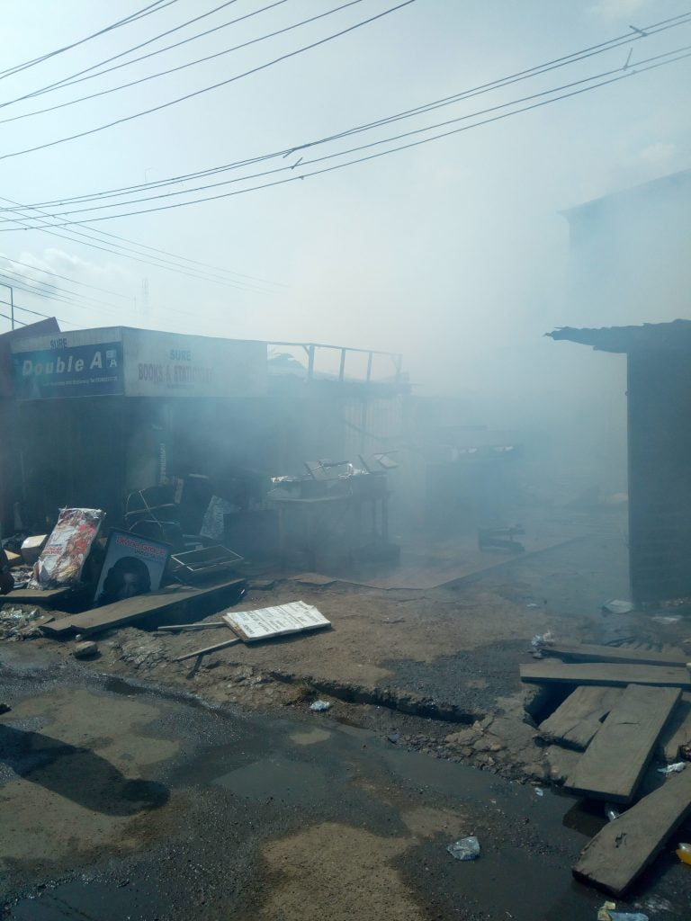 Breaking: Millions Gone As Fire Razes Shops In Aguda, Lagos (Video/Photos)