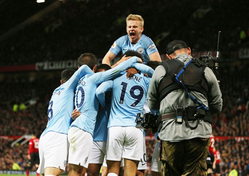 Manchester City players celebration - EPL: Manchester United Vs Manchester City (0 – 2) Full Time