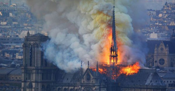 Notre Dame 2 - Fire Guts Notre Dame Cathedral, Paris Skyline Altered (Video/Photos)