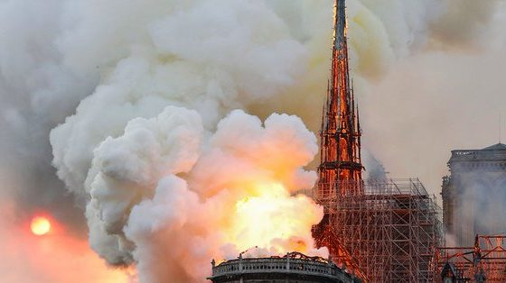 Fire Guts Notre Dame Cathedral, Paris skyline Altered (Video)