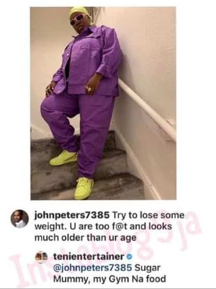 Teni hfhf - Teni's Epic Reply At To Follower Who Called Her Fat