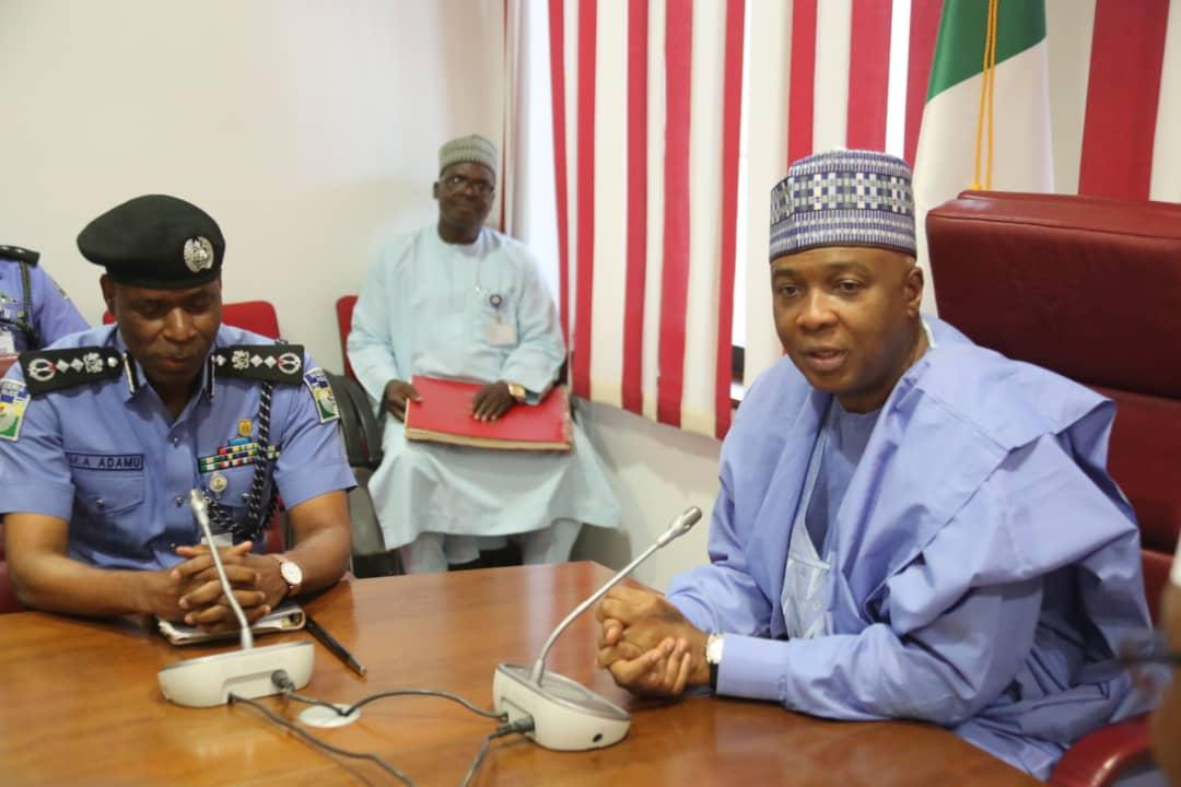WhatsApp Image 2019 04 03 at 15.35.26 - Just In: Senate President, Bukola Saraki Meets With IGP Mohammed Adamu