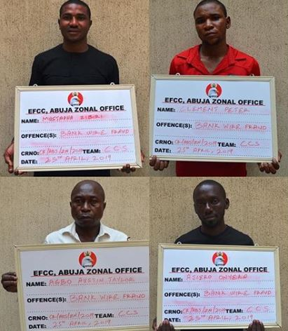 Wire Trabsfer - EFCC Nabs Four Over $200k Bank Wire Transfer