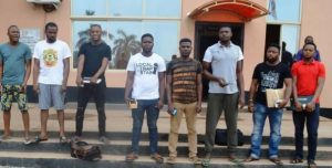Yahoo suspects 300x152 - Viral Video: Yahoo Boys Arrests, Torture Other Yahoo Boys Who Defrauded Them
