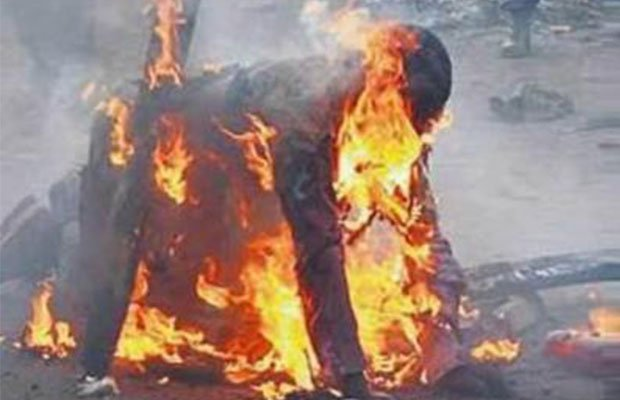 man sets self ablaze - Frustrated 'King' Sets Self Ablaze In Rivers State